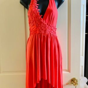 Dresses & Skirts - Coral embroidered lace high low mini long dress